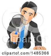 Clipart Of A 3d Business Man Kneeling And Using A Magnifying Glass On A White Background Royalty Free Illustration