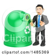 3d Business Man Recycling Glass On A White Background