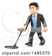 3d Business Man Using A Metal Detector On A White Background