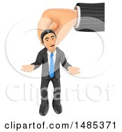 3d Business Man Hanging From A Giant Hand On A White Background