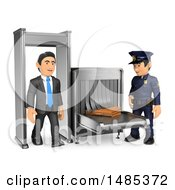 Clipart Of A 3d Business Man Going Through Airport Security On A White Background Royalty Free Illustration