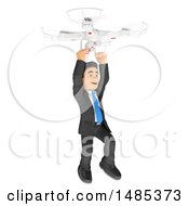 3d Business Man Hanging From A Drone On A White Background