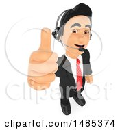 Poster, Art Print Of 3d Business Man Wearing A Headset And Giving A Thumb Up On A White Background