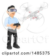 Poster, Art Print Of 3d Business Man Flying A Drone And Wearing Virtual Reality Glasses On A White Background