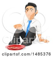 Clipart Of A 3d Business Man Begging On A White Background Royalty Free Illustration