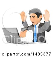 3d Business Man Being Digitally Robbed On A White Background