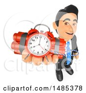 Clipart Of A 3d Business Man Holding Up A Time Bomb On A White Background Royalty Free Illustration by Texelart