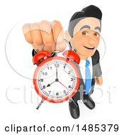 Poster, Art Print Of 3d Business Man Holding Up An Alarm Clock On A White Background