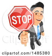 3d Business Man Holding Up A Stop Sign On A White Background