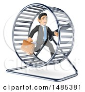 Poster, Art Print Of 3d Business Man Running In A Hamster Wheel On A White Background