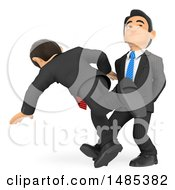 Clipart Of A 3d Business Man Sabotaging A Colleague Tripping Him On A White Background Royalty Free Illustration
