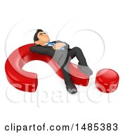 3d Business Man Resting On A Question Mark On A White Background