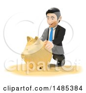 Poster, Art Print Of 3d Business Man Making A Piggy Bank Out Of Sand On A White Background