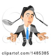 Poster, Art Print Of 3d Business Man Shrugging With A Bent Golf Club On His Head On A White Background
