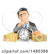 Clipart Of A 3d Business Man With An Alarm Clock And Stack Of Paperwork On A White Background Royalty Free Illustration