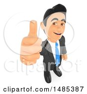 Clipart Of A 3d Business Man Holding Up A Thumb On A White Background Royalty Free Illustration