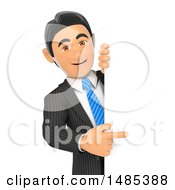 Clipart Of A 3d Business Man Pointing Around A Sign On A White Background Royalty Free Illustration