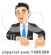Clipart Of A 3d Business Man Pointing Down Over A Sign On A White Background Royalty Free Illustration