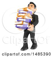 Poster, Art Print Of 3d Business Man Carrying A Stack Of Binders On A White Background
