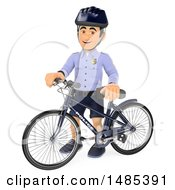 Clipart Of A 3d Bicycle Police Man On A White Background Royalty Free Illustration