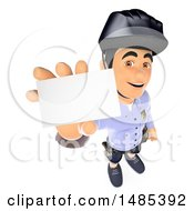 Clipart Of A 3d Bicycle Police Man Holding Up A Card On A White Background Royalty Free Illustration