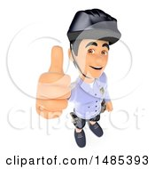 Clipart Of A 3d Police Man Holding Up A Thumb On A White Background Royalty Free Illustration