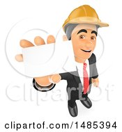 3d Architectural Engineer Holding Up A Business Card On A White Background