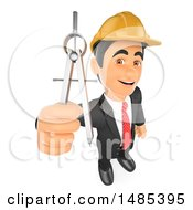 3d Architectural Engineer Holding Up A Compass On A White Background