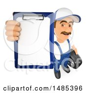 Clipart Of A 3d Male Mechanic Holding Up A Clipboard On A White Background Royalty Free Illustration by Texelart