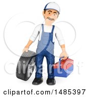 Clipart Of A 3d Male Mechanic Holding A Tire And Tool Box On A White Background Royalty Free Illustration by Texelart