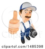 Clipart Of A 3d Male Mechanic Holding Up A Thumb On A White Background Royalty Free Illustration by Texelart