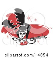Pretty Showgirl In Red And Black Feathers Holding Out Her Arm In Front Of A Red Circle Clipart Illustration