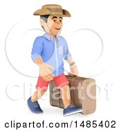 Clipart Of A 3d Casual Man Carrying A Suitcase On A White Background Royalty Free Illustration