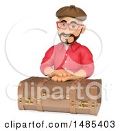 Clipart Of A 3d Man Over A Vintage Suitcase  On A White Background Royalty Free Illustration
