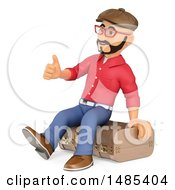 Clipart Of A 3d Man Sitting On A Vintage Suitcase  On A White Background Royalty Free Illustration