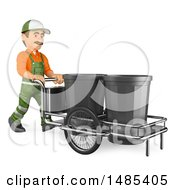 3d Street Sweeper Pushing A Garbage Cart On A White Background