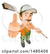 3d Street Sweeper Holding Up A Thumb And A Broom Over His Shoulder On A White Background