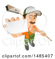 3d Street Sweeper Holding Up A Card And A Broom Over His Shoulder On A White Background
