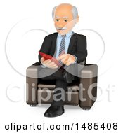 3d Senior Male Counselor Taking Notes On A White Background