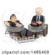 3d Senior Male Counselor Listening To A Patient And Taking Notes On A White Background
