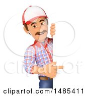 Clipart Of A 3d Handyman Pointing Around A Sign On A White Background Royalty Free Illustration by Texelart