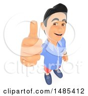 3d Casual Man Holding Up A Thumb On A White Background