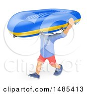 Clipart Of A 3d Casual Man Carrying A Raft On A White Background Royalty Free Illustration