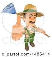 Clipart Of A 3d Gardner Holding Up A Thumb And A Rake Over His Shoulder On A White Background Royalty Free Illustration by Texelart