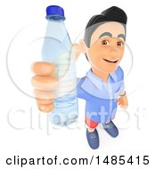 3d Casual Man Holding Up A Water Bottle On A White Background