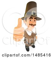 Clipart Of A 3d Pilgrim Holding Up A Thumb On A White Background Royalty Free Illustration