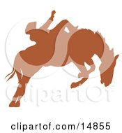 Brown Silhouette Of A Cowboy Riding A Bucking Bronco In A Rodeo Clipart Illustration
