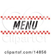 Menu Sign With Red Checker Borders Clipart Picture