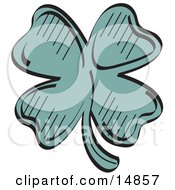 Lucky Green Clover With Four Leaves Clipart Illustration