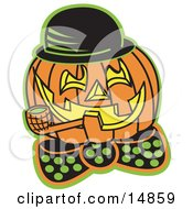 Carved Jack O Lantern Wearing A Hat And Bowtie And Grinning While Smoking A Pipe